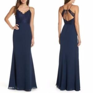 Hayley Paige Occasions Navy Chiffon A-line Gown 10